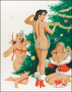 Jingles, Joy, and Merry. December 1954 calendar illustration by Bill Randall.