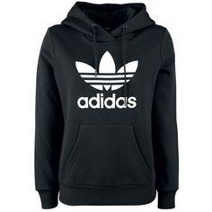 6c9f3afc3ba0 Adidas Trefoil Logo Hoodie Trui met capuchon sweater jumper zwart black  white witte logo Adidas Jumper