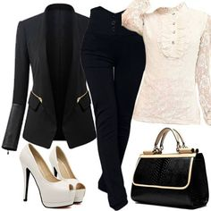Design Long Sleeve Women's Blazer with bags and pumps #999105 - I'm Addicted To You Find More: http://www.imaddictedtoyou.com/