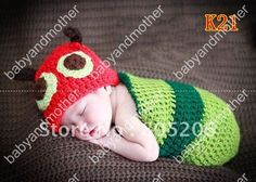 1pcs/lot Crochet baby hats+sleeping bag infant sleep sack cocoon baby crochet pattern photography props animal hats free shiping-in Hats & Caps from Apparel & Accessories on Aliexpress.com