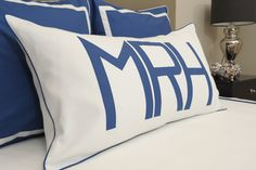 Mark mono on white Dakota with marine trim Home Bedroom, Bedroom Decor, Leontine Linens, Monogram Pillows, Blue Bedding, Kids Decor, Home Decor, Beautiful Bedrooms, Boy Room