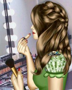 I love to be look healthy more than pretty. Sarra Art, Girly Dp, Oriflame Cosmetics, Mother Art, Cute Girl Drawing, Girly Drawings, Cute Girl Wallpaper, Dibujos Cute, Girl Sketch