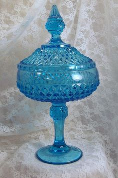 Victorian Lidded Candy Dish, Aqua Blue Glass Candy Compot. $45.00, via Etsy.