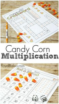 No Prep Candy Corn Multiplication Packs. Beginning multiplication to more advanced multiplication. Multiplication practice has never been so much fun Multiplication Activities, Math Activities For Kids, Maths, Kids Learning, Math Math, Learning Time, Thanksgiving Activities, Montessori Activities, Holiday Activities