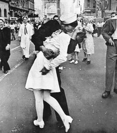 V-J Day in Times Square is a photograph by Alfred Eisenstaedt. It's a very popular photograph which has been reproduced in many different medium and version.