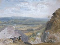 Joseph Mallord William Turner 'View across the Wharfe from Caley Park', c.1818 - Bodycolour on paper -  Dimensions Unconfirmed: 327 x 440 mm -  courtesy Private Collection, UK
