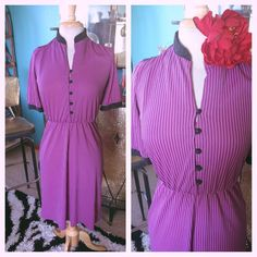 Vintage 1940s style Dress Pink Black Stripe M L Swing Rockabilly Pinup 40s 30s