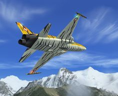 Swiss Air Force F-5E Tiger II Fighter and  the Mountains