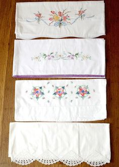 4 Vintage Pillow Cases 3 Standard / 1 King ~ Hand Embroidery / Crochet ~  ESTATE
