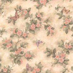 436-38573 - Lisa Peach Butterfly Floral wallpaper