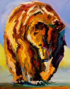Daily Painters Abstract Gallery: ARTOUTWEST DIANE WHITEHEAD FINE ART OIL PAINTING Bear Wildlife