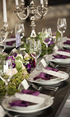 Aubergine wedding table decor - Brides of Adelaide