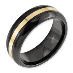 Give him a unique Ring with our extreme durable Comfort Fit Ceramic Black with 14k Yellow Gold Inlay 8mm Polished Wedding Band. All sizes & personal engraving inside band available.Lifetime warranty.  $249