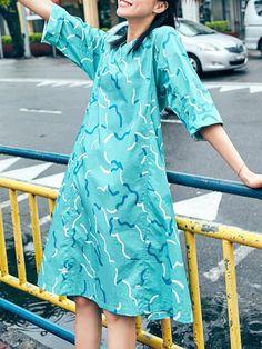 Shop Midi Dresses - Cotton 3/4 Sleeve Casual Midi Dress online. Discover unique designers fashion at StyleWe.com.