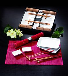 Tischgeschirr Japan Sushi Set, Braun F. 2 Personen, Natur: Amazon.de