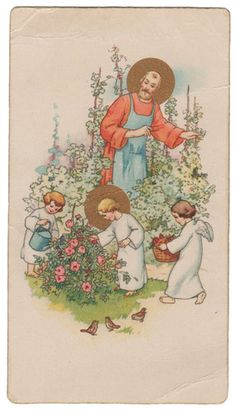 1935 Jesus in The Garden Vintage Holy Card N G Basevi |