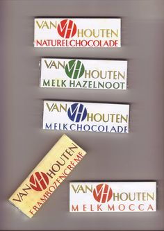 Several chocolate wrappers with the famous VH trademark designed by Stefan Schlesinger ( 1896-1944).