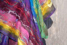 Nuno Felted scarf felt scarf felted shawl merino wool by AnnaWegg