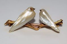 Wonderful Napoleonic French Mother of Pearl Diamond Lovebirds 9ct GOLD Brooch