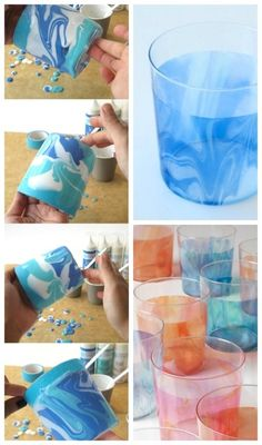 Marbleized paint on glasses - 20 Easy Glass Painting Projects (DIY Glass Paint)