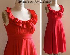 Beautiful red dress. Ruffles. A line.