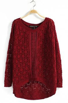 GORGEOUS Ruby Red Openwork Jaquard Cable-knit Sweater #ruby_red #knit #sweater #fashion