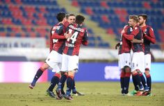 players of Bologna FC celebrate at the end of the Serie A match between Bologna FC and FC Torino at Stadio Renato Dall'Ara on January 22, 2017 in Bologna, Italy.