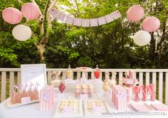Girl elephant party. Beautiful pink and white colour theme. Perfect for a little girls birthday party. All party supplies available from www.sweetlittlesoiree.com.au
