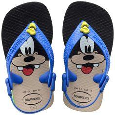 Sandália Infantil Havaianas Baby Disney Pateta Masculina Azul / Preta