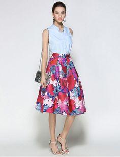 The spring and autumn 2017 new skirt skirt waist in the long skirt female stamp size umbrella skirt A word skirt Umbrella Skirt, How To Look Classy, Rock, Bird Prints, Casual Wear, Vintage Dresses, Vintage Inspired, Midi Skirt, High Waisted Skirt