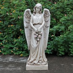 Chic Honore Angel Holding Rose Wreath Garden Statue by Red Barrel Studio Patio Garden Furniture from top store Angel Garden Statues, Outdoor Garden Statues, Gnome Statues, Garden Angels, Cemetery Statues, Angels Among Us, Religious Art, Religious Gifts, Sculpture Art