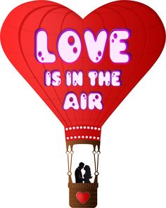 Valentines Day Love Is In The Air by @Viscious-Speed, Valentines Day balloon with lettering Love is in the air, on @openclipart
