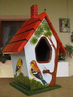 Bird House Kits Make Great Bird Houses Bird House Feeder, Diy Bird Feeder, Bird Houses Painted, Bird Houses Diy, Painted Birdhouses, Birdhouse Designs, Bird House Kits, Bird Aviary, Bird Boxes