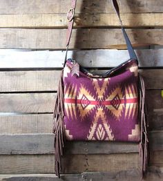 Leather & Wool Plum Fringed Bag by Mercy Grey Design Co.  on Scoutmob Shoppe