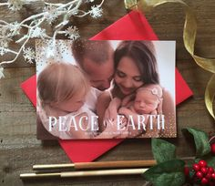 Peace on earth and well wishes this holiday season. Send your greeting with this beautiful card featuring gold confetti and your lovely photo. ******************************************************* Thanks for your interest in Art Paper Scissors Glue!  PLEASE READ THE FOLLOWING INFORMATION THOROUGHLY BEFORE PLACING AN ORDER:  I will NOT be taking orders for printed greeting cards after December 8th. This deadline provides me the time and attention needed for each order so that they are sent…