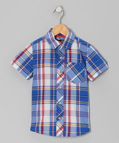 Take a look at this Blue Plaid Short-Sleeve Button-Up - Boys by Eddie Bauer on #zulily today!