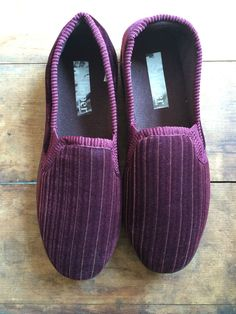 Brand New Vintage Red/ Burgundy Striped Velvet Slippers UK Size 6