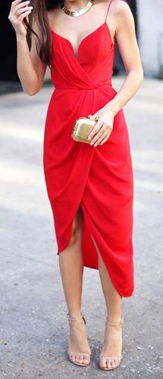 Red Asymmetrical Cami Prom Dress by With Love From Kat