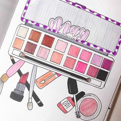 Let's combine my two favorite things - makeup and Bullet Journal. Get inspired by other creators, and check my makeup-themed June Bullet Journal setup. Bullet Journal inspirations, plan with me, Bullet Journal ideas, Bullet Journal cover page. Bullet Journal Cover Page, Bullet Journal Themes, Journal Covers, Bullet Journal Inspiration, Bullet Journals, Journal Ideas, Makeup Themes, Makeup Stickers, Shadow Photos