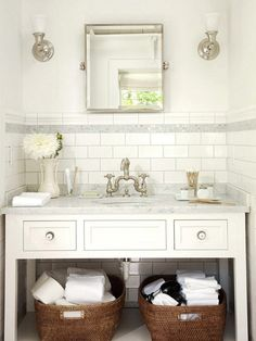 classic timeless bathroom design: white subway tile and vanity bhg Small Bathroom Solutions, Bathroom Solutions, Timeless Bathroom, Bathroom Update, Easy Bathroom Updates, Simple Bathroom, White Subway Tile, Bathroom Design, Bathroom Decor