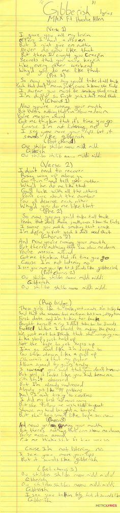 MAX's Handwritten Lyrics Will Leave You Talking 'Gibberish'   MetroLyrics