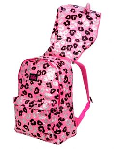 Sparkle Leopard Hooded Backpack - Brooky will be all over this lol