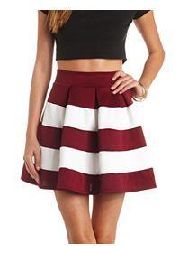 Color Block Striped High-Waisted Skater Skirt
