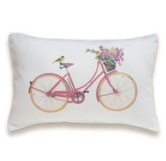 Bicycle Pillow Cover 12x18 inch White Cotton PRINT DESIGN 32. $23.00, via Etsy.