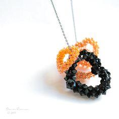 Orange+Little+Hearts+and+Black+Swarovski+One+by+SarahRobinL,+€31.00