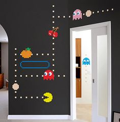 Pac-Man Wall Decals Love it! - perfect for kids room and/or game room if you have such a commodityLove it! - perfect for kids room and/or game room if you have such a commodity Deco Gamer, Arcade Room, Vintage Video Games, Game Room Design, Wall Design, Design Design, Games Design, Game Room Decor, Room Setup