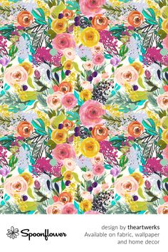 Customize your own home decor, #wallpaper and #fabric at Spoonflower. Shop your favorite indie designs on #fabric, #wallpaper and home decor products on Spoonflower, all printed with #eco-friendly inks and handmade in the United States. #patterndesign #textildesign #pattern #digitalprinting #homedecor #Autumn #Blooms Fabric Wallpaper, Floral Designs, All Print, Watercolor Flowers, Custom Fabric, Spoonflower, Diy Wedding, Pattern Design, Digital Prints