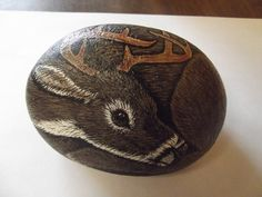 Whitetail Buck Deer painted rock reserved for John by missytodd1