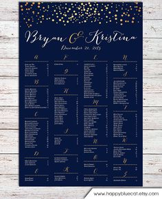 Wedding Seating Chart -  RUSH SERVICE - Gold Polka Dots Confetti Sprinkle Navy Wedding Seating Chart  Poster - Digital Printable File HBC104