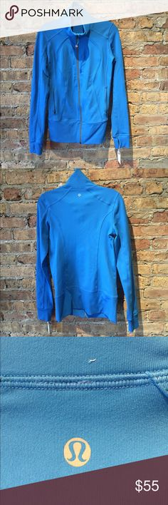 Lululemon blue zip up jacket, sz 6, 54348 Blue zip up jacket, excellent used condition, has thumb holes, sz 6 lululemon athletica Jackets & Coats